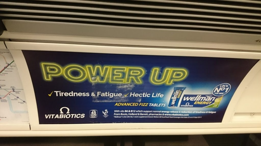Advert for vitamin tablets to combat fatigue