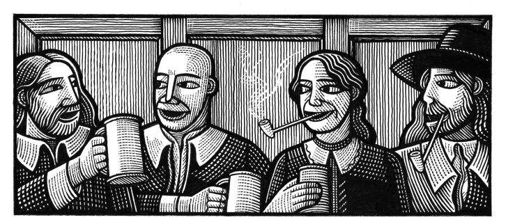 Woodcut of four Diggers socialising