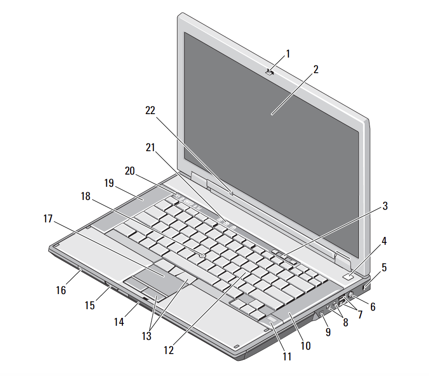 diagram of a laptop chassis, numbered
