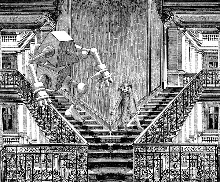 illustration of man and robot about to encounter each other on two side by side staircases